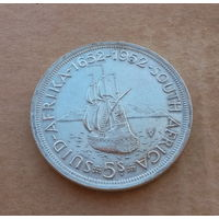 Южная Африка, 5 шиллингов 1952 г., серебро, 300 лет Кейптауну, Георг VI (1936-1952)