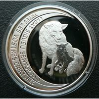 Андорра. 10 динаров 1997. Серые волки. Серебро. Пруф. 108