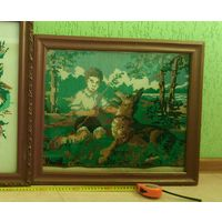 Вышивка картина старинная с рамкой большая