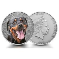 "Ниуэ 1 доллар 2015г. ""Ротвейлер"". Монета в капсуле; подарочном футляре; сертификат; коробка. СЕРЕБРО 31,135гр.(1 oz)."