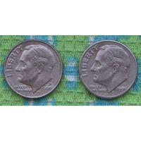 """США 10 центов 1999 года - два разных монетных двора """"D"""" и """"P"""", Фрaнклин Делано Рузвельт. Подписывайтесь! Много новых лотов в продаже!!!"""