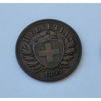 Швейцария 2 раппена, 1899 7-5-42
