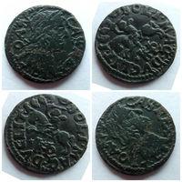 Боратинка (шеляг, солид) 1665 г. Ян Казимир, Поворот штемпеля!!! Приличная, такая монетка VF+!!!