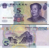 Китай  5 юань 2005 год  UNC