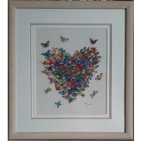 Картина ,,Сердце из бабочек,,ручная работа, вышивка.