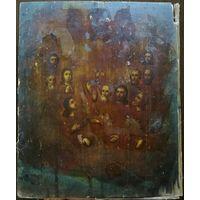 Икона Вознесение Господне, подокладная живопись, темпера, 27х22 см