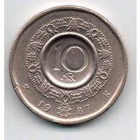 КОРОЛЕВСТВО НОРВЕГИЯ. 10 крон 1987. Орден Святого Олафа.