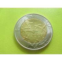 Финляндия, 5 евро 2007, биметалл, 90 лет независимости. Состояние!!!