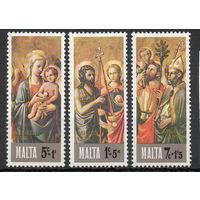 С Рождеством! Мальта 1976 год 3 марки