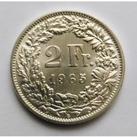 2 франка,1965г. 835пр.,серебра. Швейцария.Состояние !Возможен торг.
