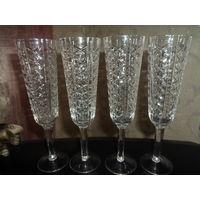 Хрустальные бокалы для шампанского
