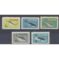 [200] Корея КНДР 1961.Морская фауна.Рыбы.дельфины,киты.