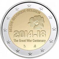2 евро 2014 Бельгия 100 лет с начала Первой мировой войны UNC из ролла