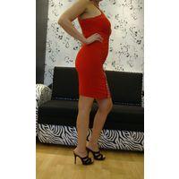 Платье коктейльное на брителях красное 44 НОВОЕ