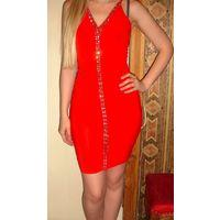 Платье красное 44