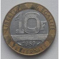 """Франция 10 франков 1989""""Дельфин""""_KM#964.1"""