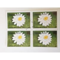 Камбоджа 1989. Цветы. Квартблок