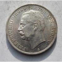 Германия, Баден, 5 марок, 1913, серебро