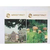 Календарики Минсктурист 1991 (2 штуки)