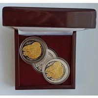 Футляр для 3 монет 20 рублей Ag d=45.00 mm деревянный