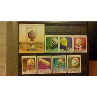 Авиация, воздушные шары, аэростаты, транспорт, техника, марки, Вьетнам, 1983, блок и 7 марок