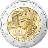 2 евро 2018 Австрия 100 лет Австрийской Республике UNC из ролла