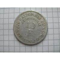 Демократическая республика конго Леопольдвиль 10 франков 1965г.