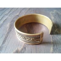 Узкий браслет-3, металл+плетение, Индия, винтаж