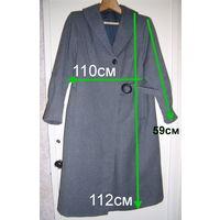 Пальто серое с пояском, р.48-50, б/у в хорошем состоянии