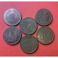 Евроценты, 5ц разных стран 5 шт.