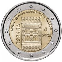 2 евро 2020 Испания Мудехарская архитектура Арагона UNC из ролла