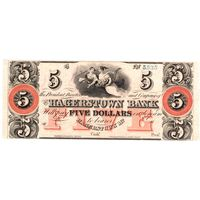 США, 5 долларов, The Hagerstown Bank (Maryland), 1800', UNC. Не частые!