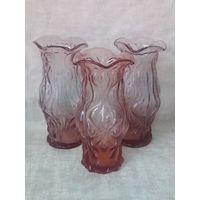 Три вазочки розового стекла СССР одним лотом