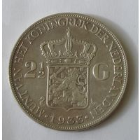 Нидерланды 2 1/2 Гульдена 1933 Серебро (2)