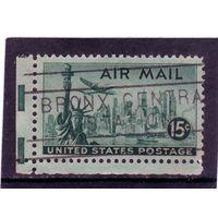 США. Mi:US 561.Статуя Свободы, Нью-Йорк. Скайлайн и Локхид. Серия: Авиапочта 1941-1949