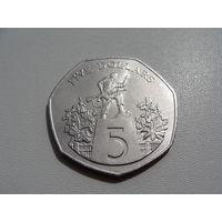 """Либерия.  5 долларов 1985 год KM#44  """"Военный мемориал"""""""