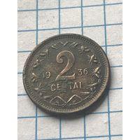 Литва 2 цента 1936