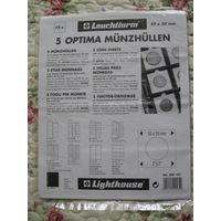 Листы для монет, Leuchtturm(Германия), OPTIMA K50, упаковка (5листов), для монет в холдерах 50*50мм, прозрачные, новые.