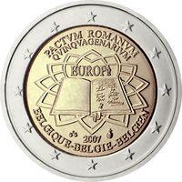 2 евро 2007 Бельгия 50-летие подписания Римского договора UNC из ролла