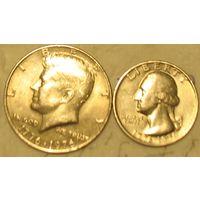 """25 и 50 центов 1976 без мд. или D """"200 лет независимости США"""""""