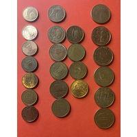 Евроценты, 1-2-5ц разных стран 20шт.