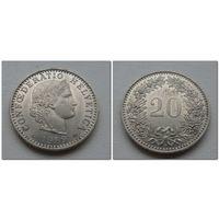 20 рапен Швейцария 1989 год, KM# 29a, 20 RAPPEN, из коллекции