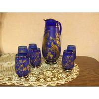 Набор стаканов с кувшином Чешское стекло Богемия