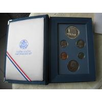 """Монеты 1987г, """"200 лет конституции США"""", доллар серебреный, 900 пр., сертификат."""