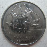 Канада 25 центов 2009 г. Победа женской сборной по хоккею на олимпиаде в Солт-Лейк-Сити в 2002 г.