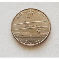25 центов США 2001 г. штат Северная Каролина P