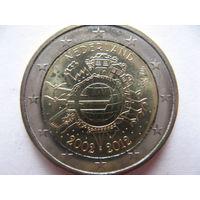 Нидерланды 2 евро 2012г. 10 лет евро наличными. (юбилейная) UNC!