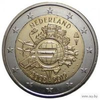 2 евро 2012 Нидерланды 10 лет наличному евро UNC из ролла