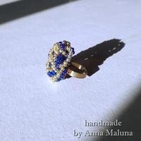 """Кольцо ручной работы """"Синяя роза"""" из бисера"""