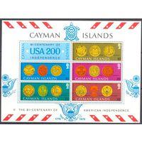 Каймановы острова 200 лет США Блок и 5 марок